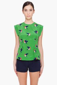 MARC BY MARC JACOBS Green Silk Finch Blouse