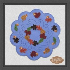 Falling ARound Candle Mat PRECUT Wool Applique by PennyRugsPlus, $22.00