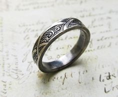 Engraved Silver Ring with Waves and Arches