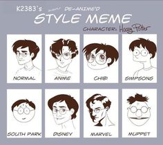 Different Harry Potter animation styles