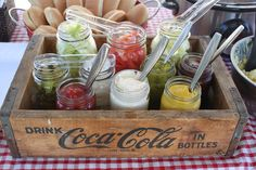 Put condiments in antique mason jars and then put them in an old crate for a different way to serve at a picnic themed baby shower! antiqu mason, picnic theme, outdoor parties, crates for picnic, themed weddings, old crates, mason jars, themed parties, baby showers
