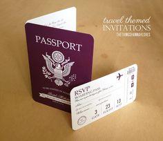 the things hannah loves: Wedding Stationary - travel passort themed invitations