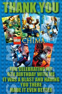 LEGO CHIMA 4X6 THANK YOU NOTES WITH ENVELOPES