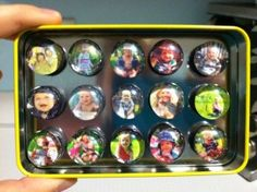 DIY photo marble magnets.  Great gift for the grandparents!