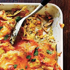 Chicken Enchilada Casserole | MyRecipes.com. I used poached chicken breast and canned green chile enchilada sauce