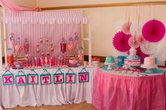 How great is this girly carnival setup?! #carnival #birthday #girly #desserttable