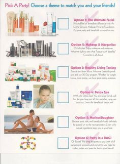 Arbonne Pick Your Party flyer!.........  Let's get started to have some fun....saraprescott.myarbonne.com Check out the amazing pure, safe, beneficial Arbonne products at my online shop