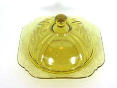 Depression glass amber MADRID pattern covered butter dish