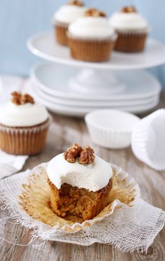 A tried-and-true cake classic transformed into a delightful cuppie: Carrot Cake Cupcakes. #food #baking #dessert #cupcakes #cake #carrot #spring #Easter