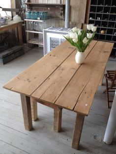 old pine door made into a farm table