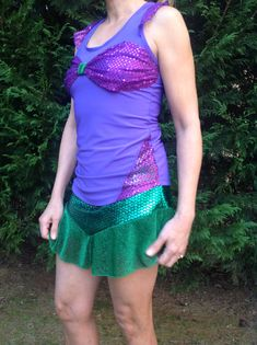 Mermaid inspired complete running outfit on Etsy, $95.00
