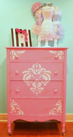 Pink Dresser Painted with Damask stencil by Blue Poppy Design