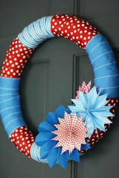 holiday, juli wreath, firework, door, ribbon wreaths, summer wreath