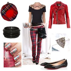 Mad for #plaid! And topped with a chic red #biker #jacket