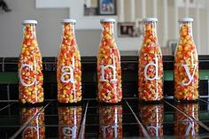 Candy corn bottles