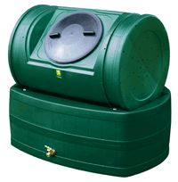 Compost Wizard Hybrid composter and rain barrel in green