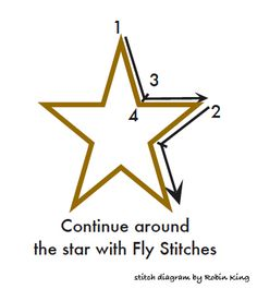 Star outline with fly stitch