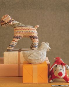 Stuffed animals made out of sweaters! Doing this!