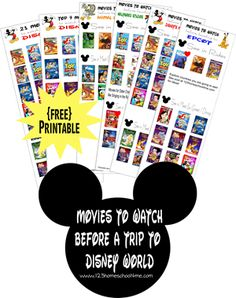 Planning a trip to Disney World? Here is a free printable with the movies you will want to see before heading to Disney World!