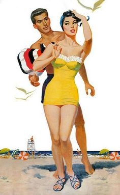 Cute swimsuit - the ruffles are such a charming touch. #vintage #1950s #beach #summer #couple