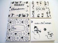 Tile Snowman Coasters | FaveCrafts.com