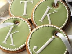 Cookie ornaments!  by SweetAmbs  Write CHRISTmas verbiage or guests' names/initials... :)!
