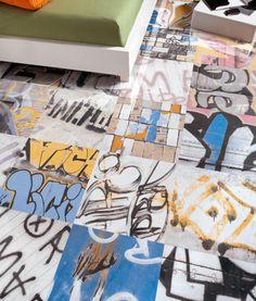 """Graffiti Porcelain Tile  18""""x18"""" Porcelain Tile creativ floor, block idea, tiles, graffiti tile, creativeawesom floor, banski porcelain, street art, floor tile, art graffiti"""