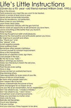 life's instructions