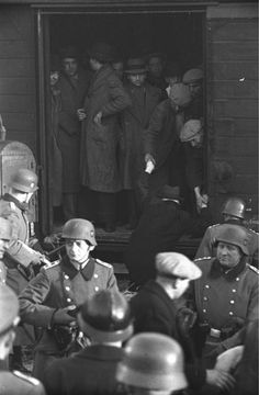 The deportation of French Jews in Marseilles by SS guards and Vichy police, January 1943.