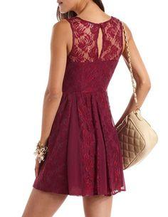 Lace & Chiffon A-Line Dress: Charlotte Russe
