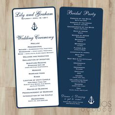 Nautical Wedding Program // Flat Tealength // by lestudios on Etsy, $30.00