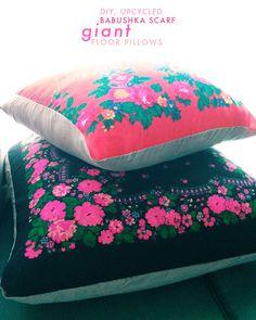 Upcycled Babushka Scarf Pillows DIY