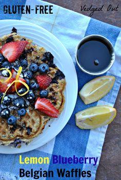 Gluten-free lemon blueberry waffles from OATrageous Oatmeals #vegan
