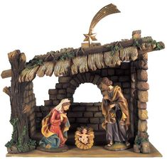 """Demetz Classico  12"""" Holy Family in Lighted Stable    with removeable Jesus (Item #34092) $299.95  SPECIAL PURCHASE!  NOW $199.95  Available Only While Our Supplies Last!    12"""" Holy Family Only  with removeable Jesus (No Stable) (Item #34103) $119.95  SPECIAL PURCHASE!  NOW $79.95  Available Only While Our Supplies Last!"""