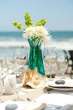 Beach wedding decor - table decor, flower
