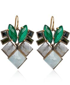 Nak Armstrong Gold Malachite and Tourmaline Earrings