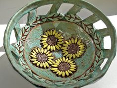ceramic pottery sunflower bowl by VickieDumas on Etsy, $54.00