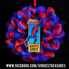 Spider-Man Wreath- Super Hero Wreath- Deco Mesh- Birthday- Room decor on Etsy, $50.00