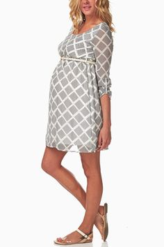 White-Print-Belted-Maternity-Dress