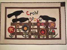crow gossip, quiltscross stitchembroideri, primitive quilts, primit quilt