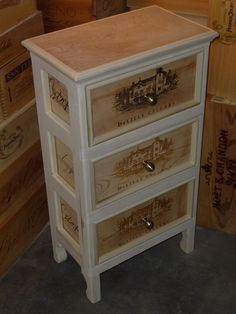 Gorgeous Delille Cellars Three Drawer Wine Crate End Table.