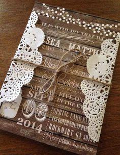 Rustic Wood Doily Mason Jar Wedding Invitation with twine, Would be great for FALL!! Fall Mason Jar Wedding, Mason Jar W