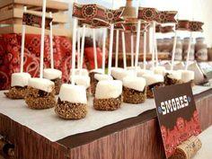 s'mores dessert tables, party treats, birthday parties, wedding treats, food, marshmallow pops, sticks, cowboy party, dessert bars