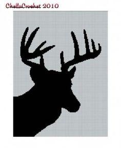 Deer Head Silhouette No. 2 Buck Stag Afghan Crochet Pattern Graph: $3.50