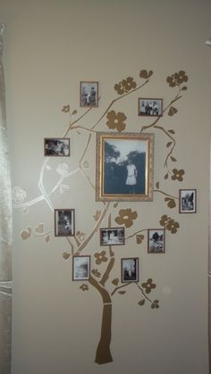 I made a family tree on the wall. I used Roommates peel and stick wall decor tree.  I used some creative liberties with how they showed the tree so I could fit my pictures on the way I wanted. I put my grandparents photo large photo in the middle and have smaller family photos in 3 x 5 rustic frames I found at an antique store. I scanned the black and whites, printed them and laminated them before putting them in a frame.