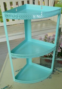 paint the mid-century stand turquoise