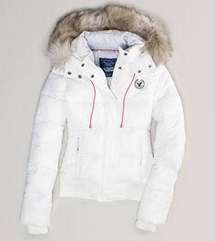AE Faux Fur Hooded Puffer Jacket