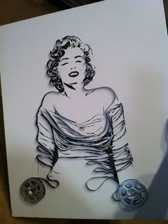Marilyn - 8mm film on canvas, art from old film and cassette tape by Erica Iris Simmons