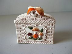 Vintage Merry Mushrooms napkin holder on Etsy, $12.00
