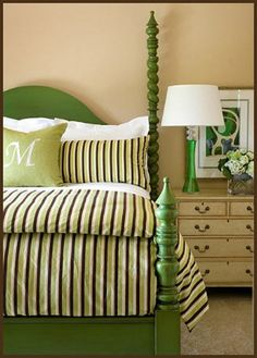 interior design, bed frames, beds, painted furniture, color, southern charm, kelly green, guest rooms, bedroom